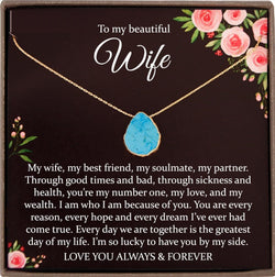 Wife Gift for Wife Turquoise Necklace, Wife Christmas Gift, Husband to Wife Gift Jewelry, Wife Necklace, Turquoise Choker
