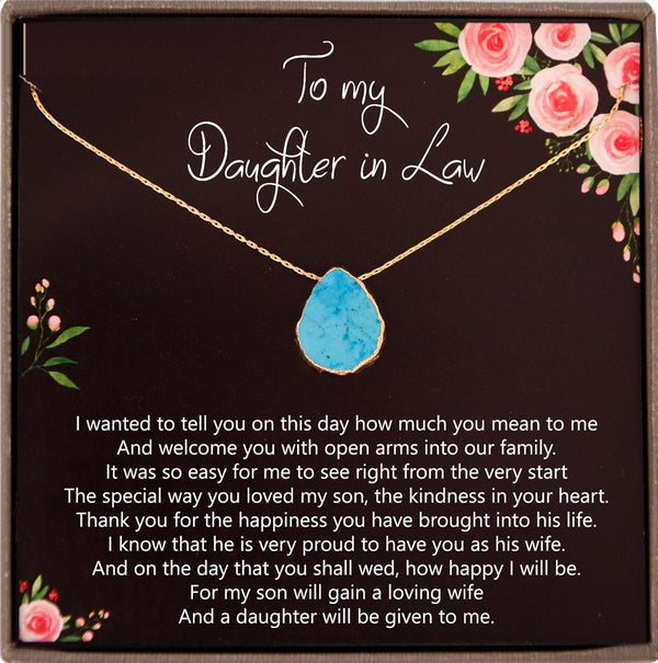 Daughter in Law Gifts for Wedding Bride Gift From Mother in law, Mother of Groom to Bride Wedding Gift for Bride, Turquoise Necklace