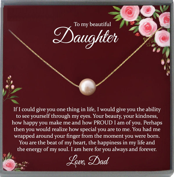 Daughter Gift from Dad Daughter Gifts, Father Daughter Gift Dad to Daughter Necklace Personalized with Message Card