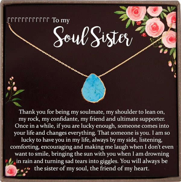 Soul Sister Necklace, Unbiological Sister, Soul Sister Gift for Best Friend Gift, Turquoise necklace Gold