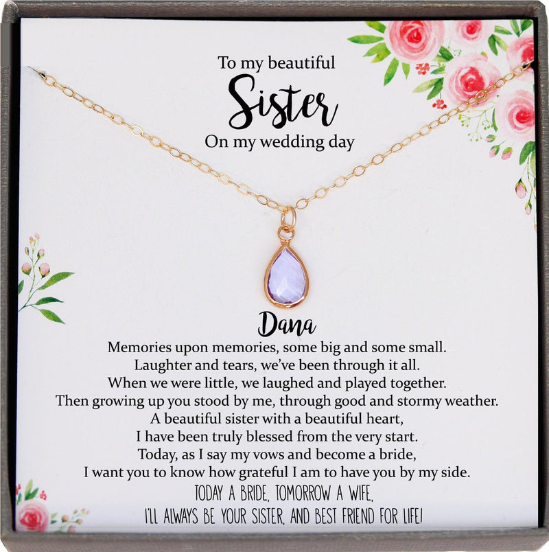 Sister of the Bride Gift Necklace