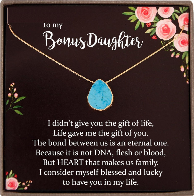 Step Daughter Gift for Step Daughter, Bonus Daughter Gift Necklace Blended Family Stepdaughter Gift daughter of bride Turquoise Necklace