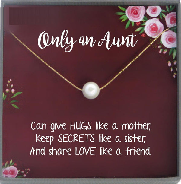 Auntie Gifts for Aunt Necklace for Aunt Gift for Aunt, Auntie Necklace, New Aunt gift, best aunt ever, Single Pearl Necklace