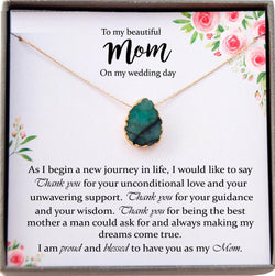 Mother of the Groom Gift from Son to Mom Gift Wedding Gift for Mom Green Emerald Necklace Gift from Groom to Mother, Mom Wedding Gift Groom