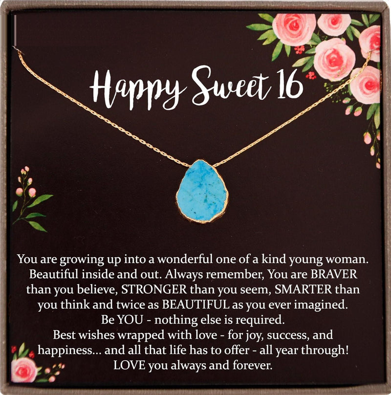 Sweet 16 gift, 16th birthday gift girl necklace, sweet 16 necklace, gift for 16 year old girl, Turquoise Necklace Gold
