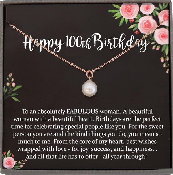 100th Birthday Gift for Women, 100 year old birthday gift, 100th birthday necklace, gift for 100 year old woman