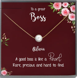 Boss Gifts for Women Boss Jewelry, Thank you Boss Necklace Pearl, Boss Lady Gift Jewelry with card