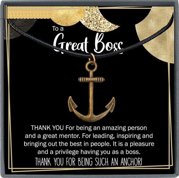 Boss Gift Men, Boss Day Gift Men, Boss Christmas Gift, Manager Gift Ideas, Boss Appreciation, Anchor Necklace Men
