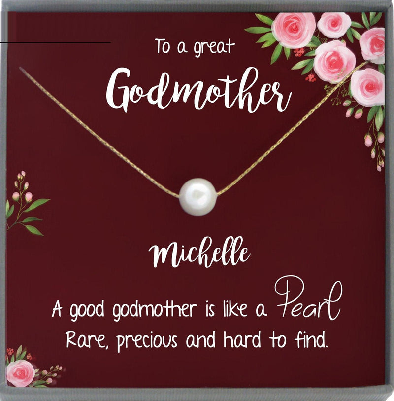 Godmother Gift for Godmother Necklace for Godmother Gift for Christmas Gifts Single Pearl Necklace