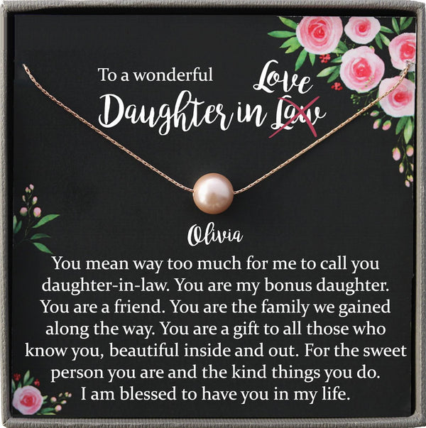 Daughter-In-Law Gift Necklace: daughter in law birthday gift, Jewelry From Mother-In Law, Wedding Gift for Bride Single Pearl Necklace