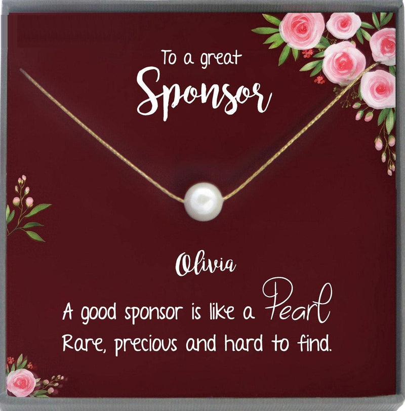 Sponsor Gift For Sponsor Thank You Gift, Confirmation Sponsor Gift for Women, aa Sponsor Gift, Wedding Sponsor Necklace