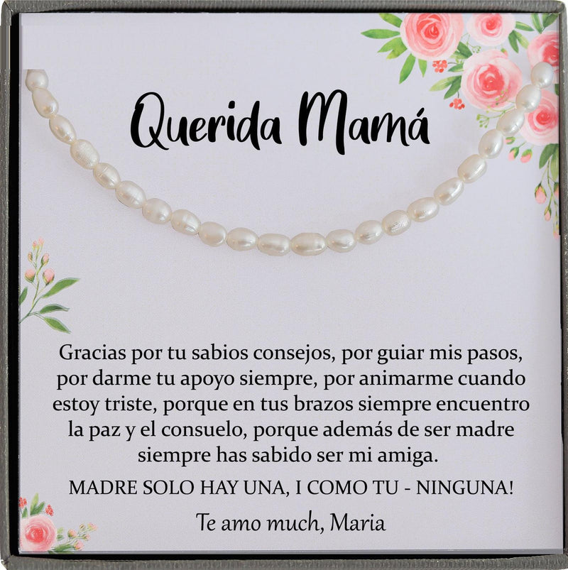 Regalo para Mamá, Madre Necklace, Spanish Mother Birthday, Joyería Para Mamá, Feliz Cumpleaños mama Querida Spanish mother of the bride gift