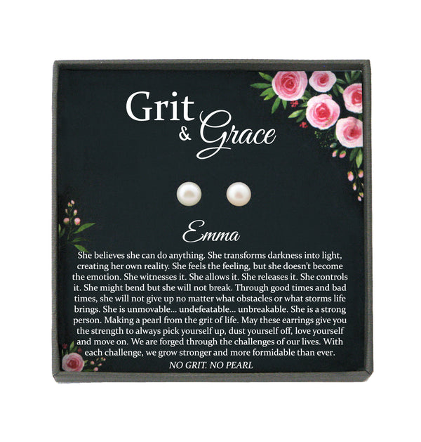 Encouragement Gifts, Grit and Grace, No Grit No Pearl Warrior Gift Inspirational Gifts Strength Gift Sobriety Recovery Breast Cancer