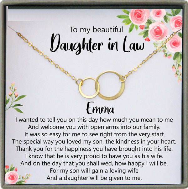 Daughter in Law Gift from Mother in Law to Bride Gift Wedding Gift Necklace Gift from Mother of Groom