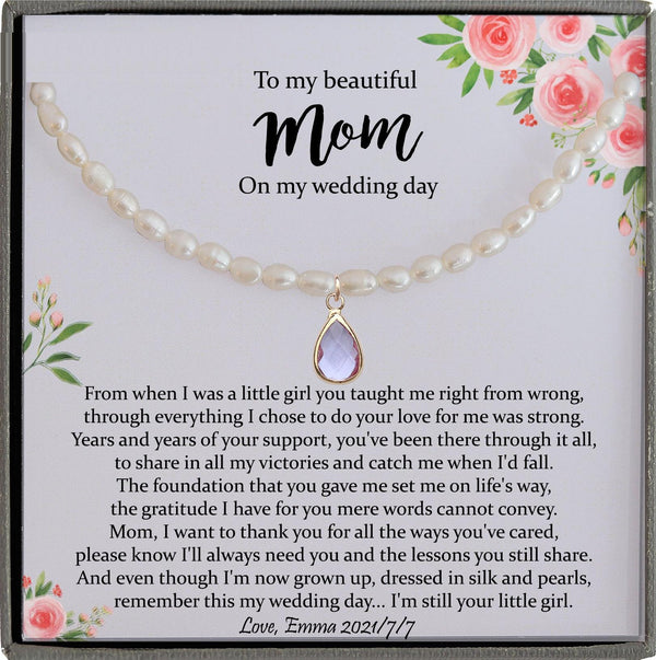 Mother of the Bride Gift from Daughter Mother of the Bride Necklace from Bride Real Pearl Necklace Mom of Bride Gift To Mom from Bride