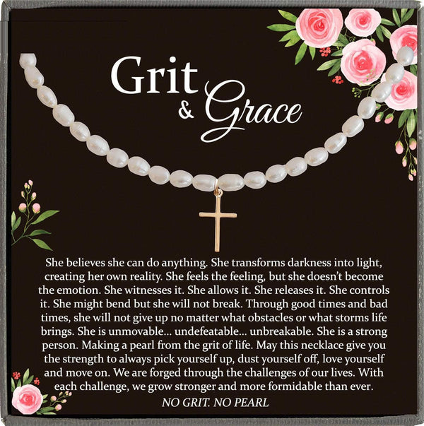 Encouragement Gifts, Grit and Grace, No Grit No Pearl Warrior Necklace Inspirational Gifts Strength Necklace Sobriety Recovery Breast Cancer