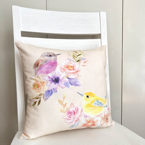 Flowerbirds Cotton Cushion Cover