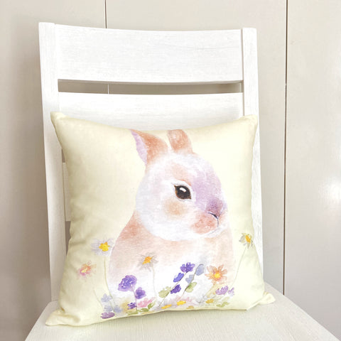 Bunnies in Blooms Cotton Cushion Cover