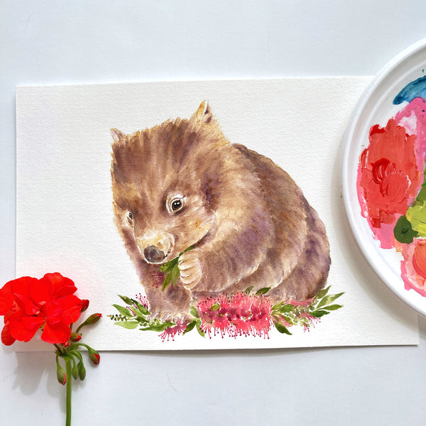 Wombat Original Watercolour Painting