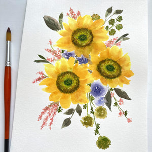 Sunflowers Bouquet Original Watercolour Painting