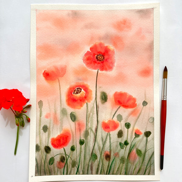 Red Poppies Original Watercolour Painting
