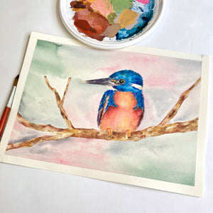 Azure Kingfisher Original Watercolour Painting