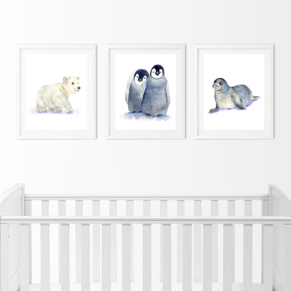 Arctic Animals Set of 3 Prints