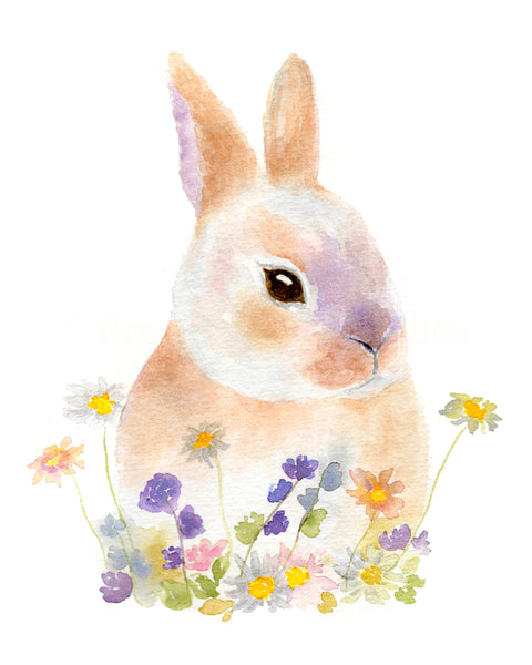 Bunnies in Blooms Set of 3 Prints