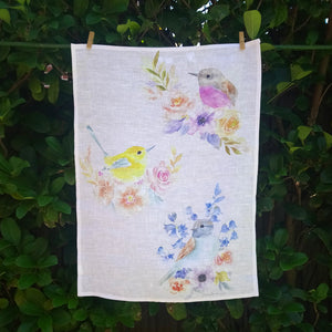 Flowerbirds Tea Towel 100% Linen