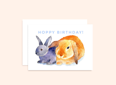 "Bunny Birthday Card ""Hoppy Birthday"""