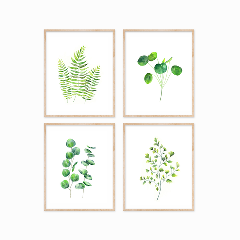 Green Leaves Set of 4 Prints