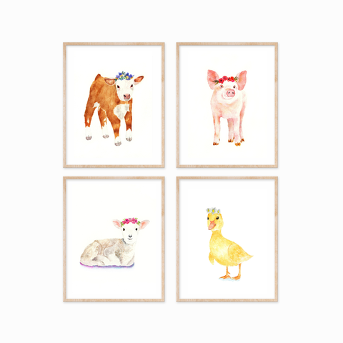 Farm Animals with Flower Crowns Set of 4