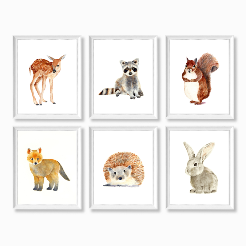 Woodland Animals Set of 6 Prints