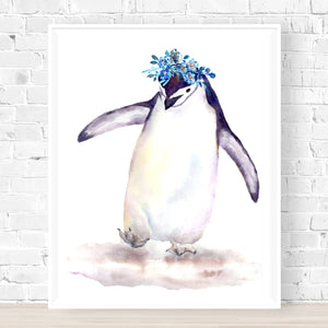 'Skating with flippers' Penguin Print