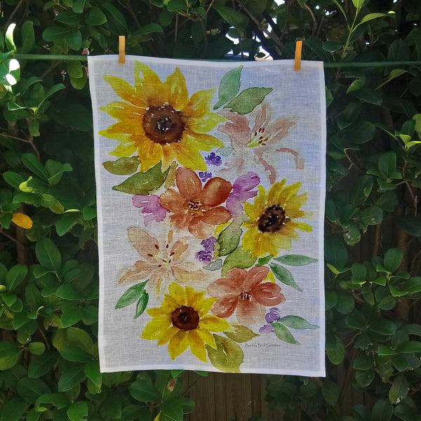 Sunflowers and lilies Tea Towel 100% Linen