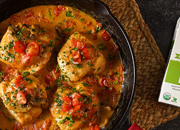 Skillet Chicken with Tomatoes and Mushrooms in a White Wine Sauce