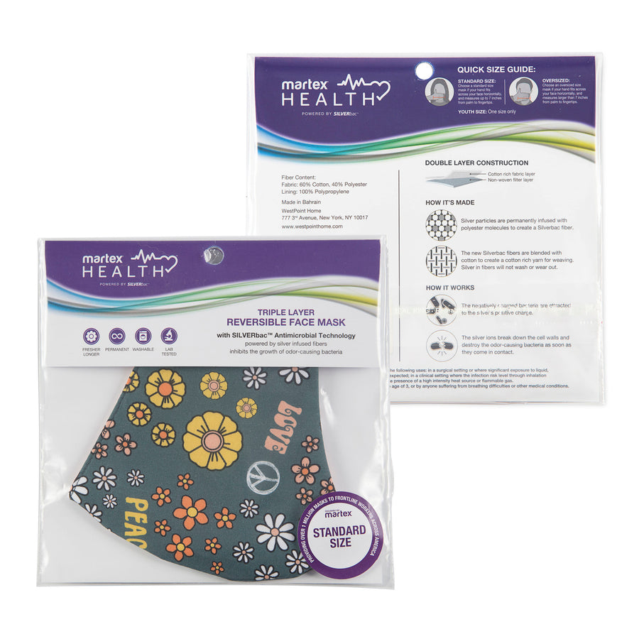 Martex Health Peace & Love Reversible Triple Layer Face Masks with SILVERbac Antimicrobial Technology