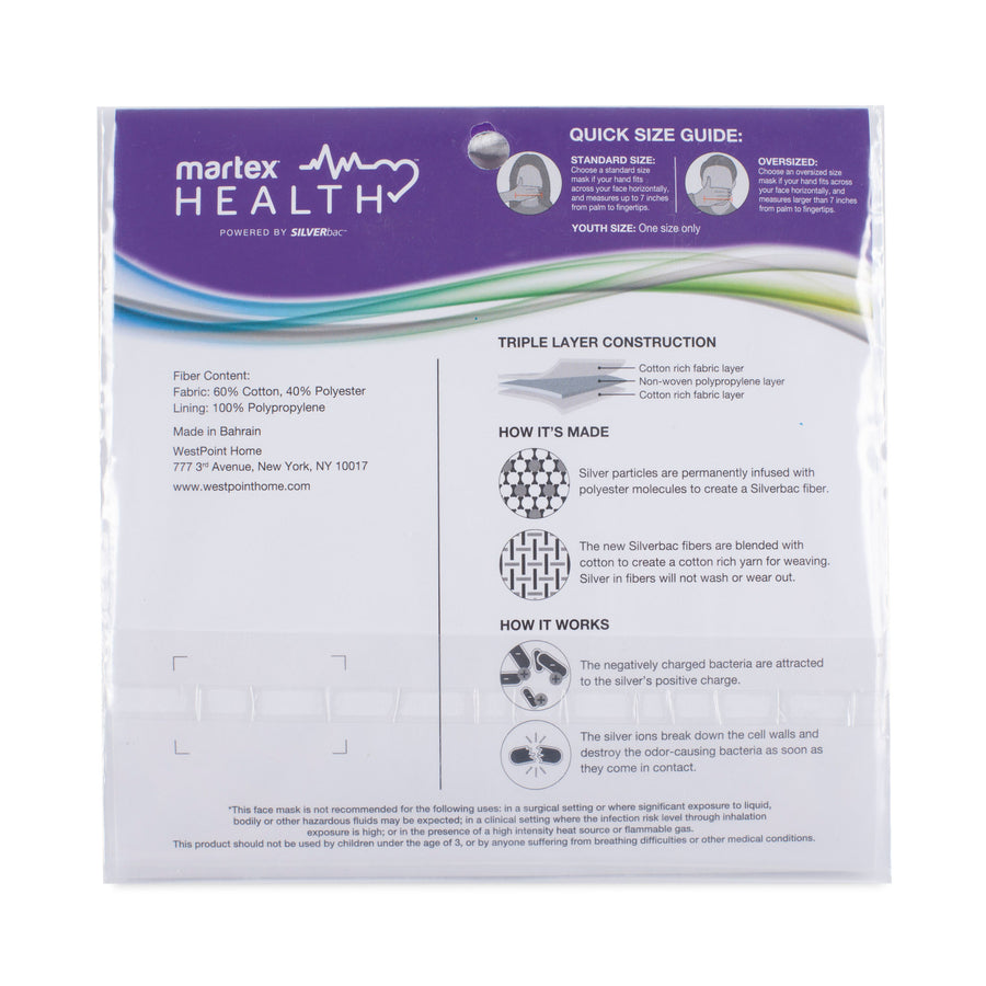 Martex Health Butterfly Triple Layer Standard Face Mask with SILVERbac™ Antimicrobial Technology