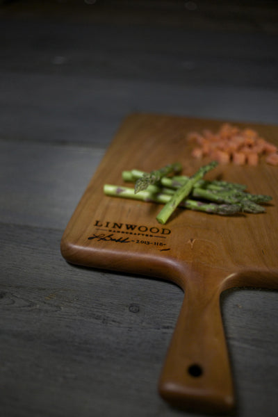 118B. Large Handmade Cherry Wooden Cutting Board and Serving Piece with Handle by Linwood.
