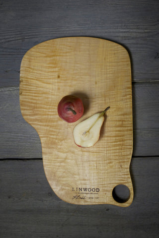 120. Extra Large Handmade Tiger Maple Wood Cutting Board and Serving Piece by Linwood
