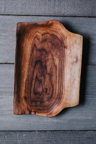 295. Handmade Black Walnut Wood Serving Platter by Linwood