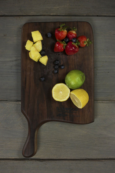 328. Handmade black walnut wood cutting board with a handle - front view 2