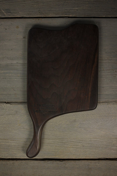 329. Handmade black walnut wood cutting board with a handle - front view 2
