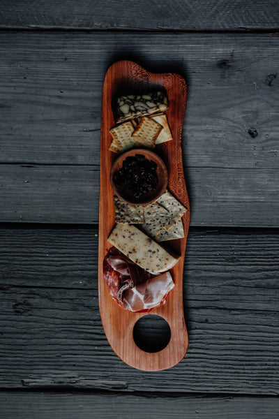 468. Handmade cherry wood serving board for cheese and crackers by Lin Babb of Linwoodco.com