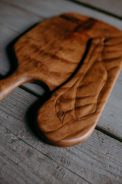 525. Handmade Carved Wooden Pelican Cutting Board by Lin Babb of Linwoodco.com