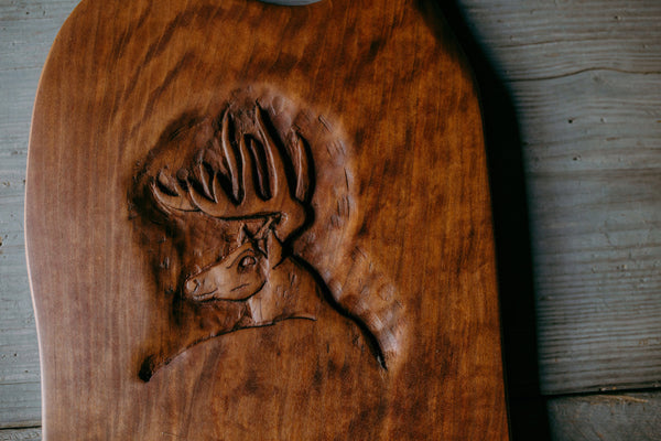 528. Handmade Carved Wooden Deer Cutting Board by Lin Babb of linwoodco.com