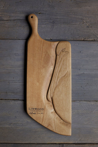 89. Handmade cutting boards. Handcrafted and hand carved pelican on cherry wood cutting board. Custom cutting board.
