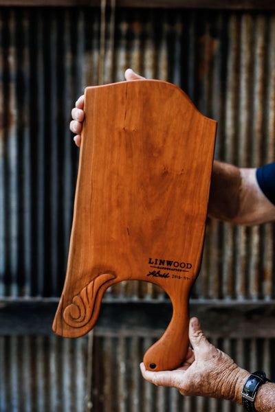 97. Handmade Carved Cherry Wood Cutting Board by Linwood
