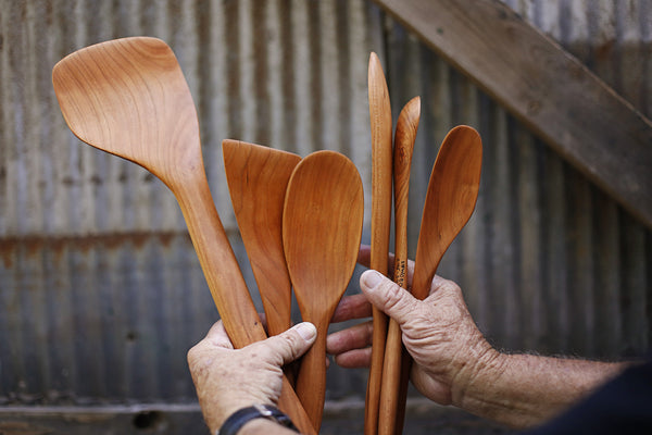 313. Handmade wooden spatula carved out of cherry wood. Handmade wooden utensils for the kitchen.