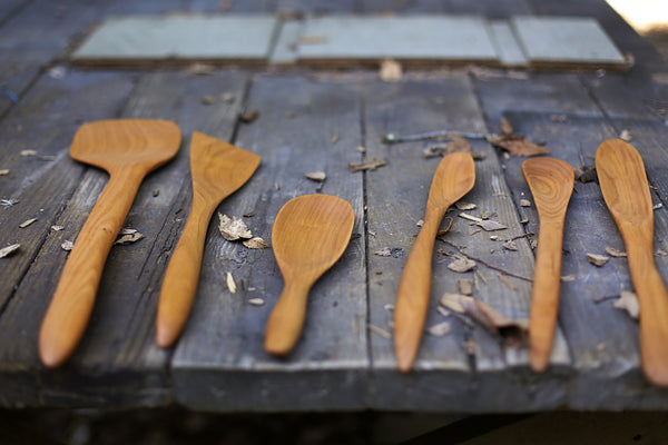 312. Handmade wooden spoon carved out of cherry wood. Handmade wooden utensils for the kitchen.